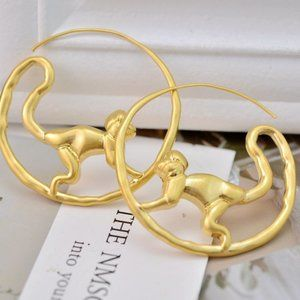 Tory Burch Vintage Gold Monkey Earrings